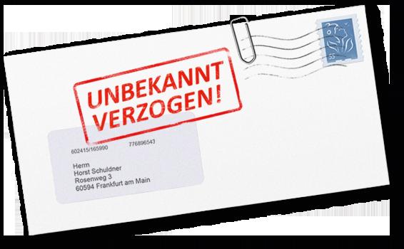 Briefumschlag mit Stempel unbekannt verzogen
